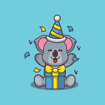 Carino koala con scatola regalo cartone animato illustrazione vettoriale