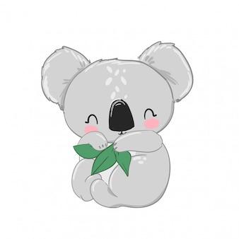 Koala sveglio con i fogli verdi isolati sulla stampa di progettazione dei bambini del fondo bianco per l'illustrazione della scuola materna.