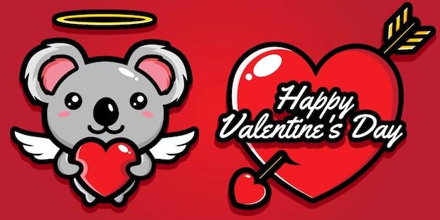 Simpatico koala con auguri di buon san valentino