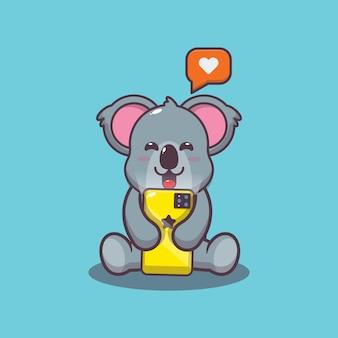 Simpatico koala con illustrazione vettoriale di cartone animato cellulare