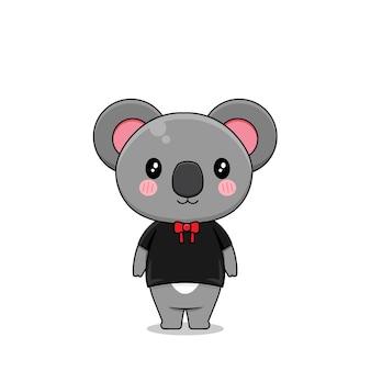 Koala sveglio con l'illustrazione di progettazione di vettore del vestito