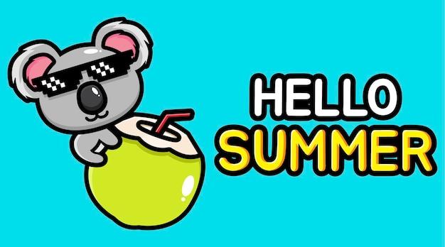 Koala sveglio con la bandiera di saluto di estate
