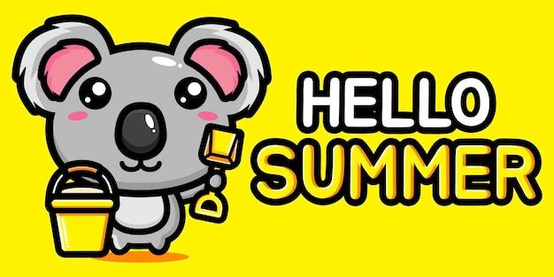 Carino koala con banner di auguri estivi Vettore Premium