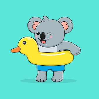 Koala carino con anatra di gomma da nuoto