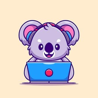 Koala sveglio che lavora al computer portatile con il fumetto della cuffia