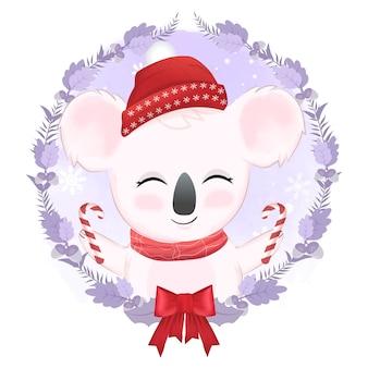 Koala carino e ghirlanda di natale, illustrazione dell'acquerello