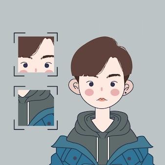 Illustrazione sveglia del ragazzo coreano