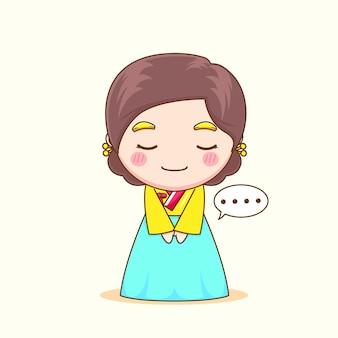 Carina ragazza coreana che indossa l'hanbok