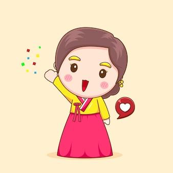 Carina ragazza coreana con hanbok
