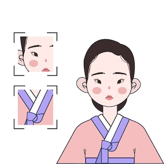Ragazza carina coreana con costume tradizionale