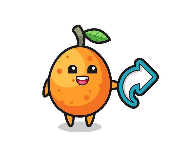 Il simpatico kumquat tiene il simbolo della condivisione dei social media, il design in stile carino per la maglietta, l'adesivo, l'elemento del logo