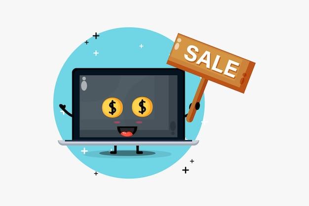 Mascotte sveglia del computer portatile con il segno di vendita