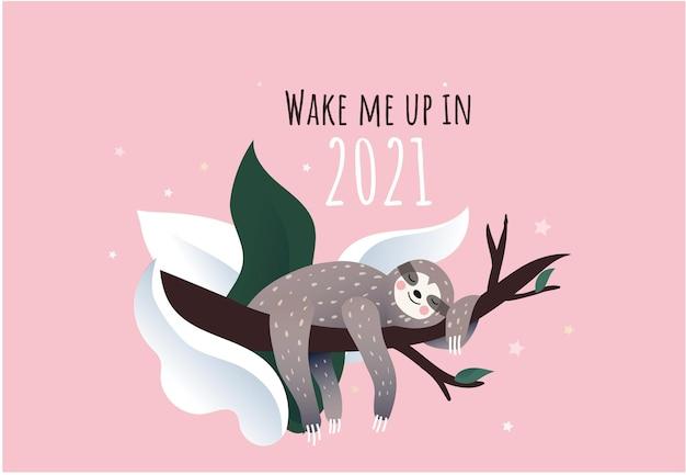 Bradipo pigro sveglio che dorme su un ramo dell'albero sotto la neve, illustrazione piana di stile del fumetto, iscrizione di citazione del nuovo anno