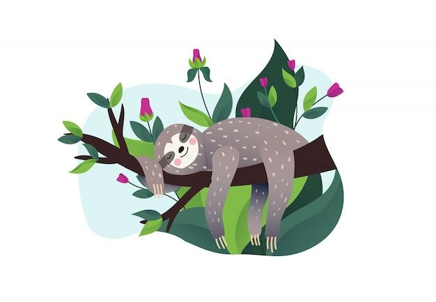 Bradipo pigro sveglio che dorme su un ramo dell'albero tropicale. stile cartoon, illustrazione rallenta le lettere di citazione.
