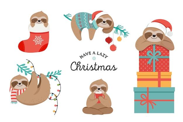 Simpatici bradipi pigri, divertenti illustrazioni di buon natale con costumi di babbo natale