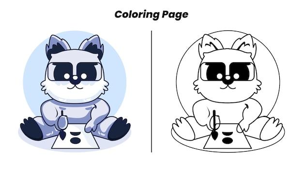 Simpatici lemuri di apprendimento con pagine da colorare