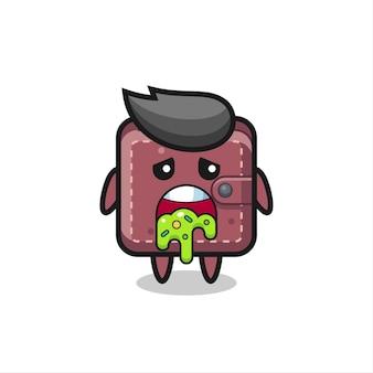 Il simpatico personaggio del portafoglio in pelle con vomito, design in stile carino per maglietta, adesivo, elemento logo