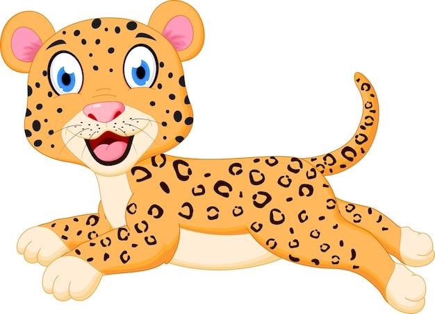 Simpatico cartone animato di leopardo saltando