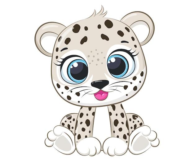 Simpatico leopardo si siede e sorride. illustrazione di vettore del fumetto.