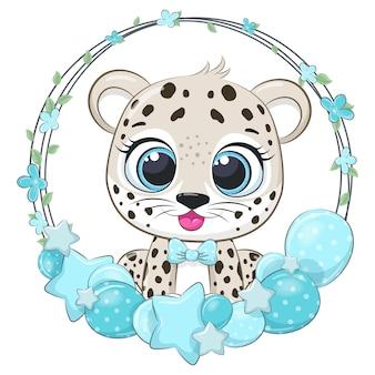 Simpatico leopardo con palloncini e una ghirlanda. illustrazione vettoriale di un cartone animato.