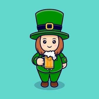 Leprechaun carino bere birra personaggio dei cartoni animati giorno di san patrizio