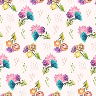 Simpatico motivo senza cuciture abbozzato leggero con mazzi di fiori arancioni, blu e rosa e punti colorati