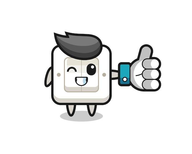 Simpatico interruttore della luce con simbolo del pollice in alto dei social media, design in stile carino per t-shirt, adesivo, elemento logo