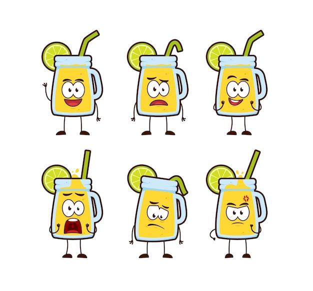 Mascotte del personaggio dei cartoni animati del barattolo della bevanda della limonata del limone sveglio