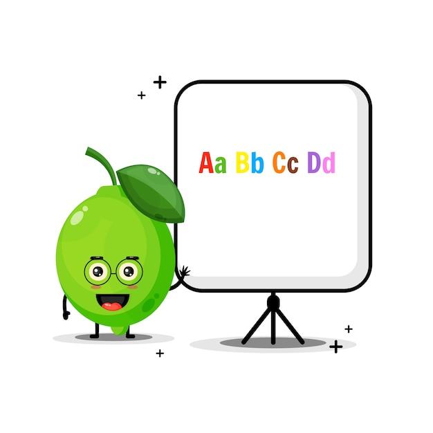 Simpatica mascotte di lime spiega l'alfabeto