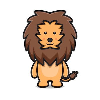 Simpatico leone animale mascotte personaggio cartone animato vettore icona illustrazione animale mascotte icona