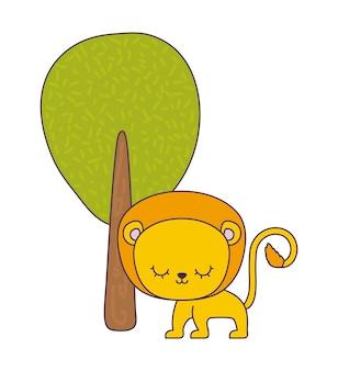 Animale sveglio del leone con la pianta dell'albero