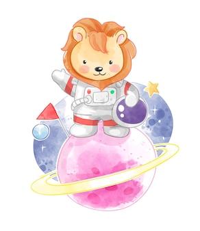 Astronauta leone carino in piedi sul pianeta illustrazione