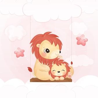 Simpatico leone e leoncino nell'illustrazione dell'acquerello