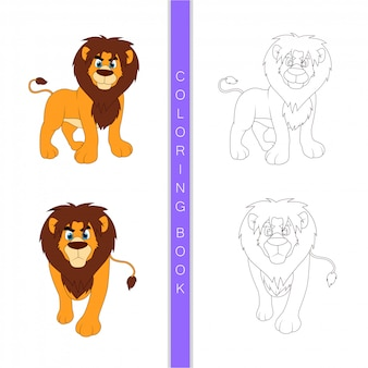 Simpatico cartone animato leone, libro da colorare