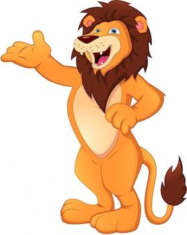 Simpatico cartone animato leone sventolando