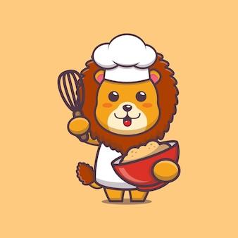 Illustrazione di cartone animato carino chef leone