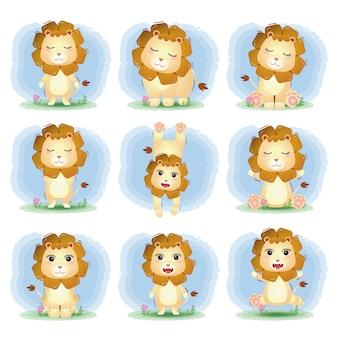 Collezione di simpatici leoni nello stile dei bambini