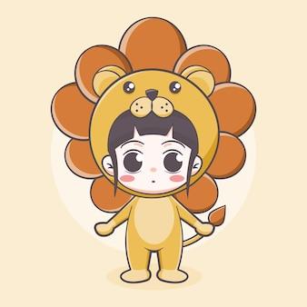 Illustrazione di cartone animato ragazza carina costume leone