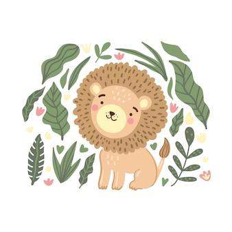 Cucciolo di leone carino nella giungla e foglie