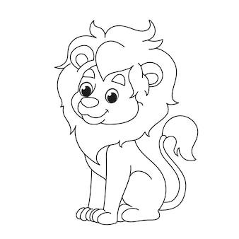 Un simpatico cucciolo di leone si siede. colorazione dei cartoni animati per bambini. illustrazione vettoriale in bianco e nero di un grande personaggio animale leone africano per colorare divertimento