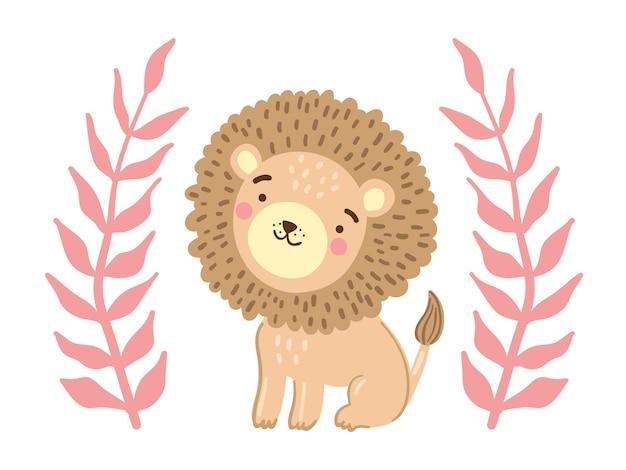 Cucciolo di leone carino con foglie di giungla rosa