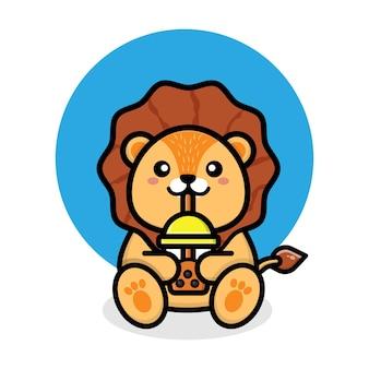 Simpatico leone beve boba bubble tea cup cartoon