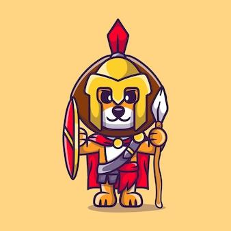 Simpatico leone gladiatore spartano con scudo e lancia