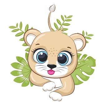 Il simpatico leone si nascose tra i cespugli. illustrazione vettoriale di un cartone animato.