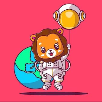 Illustrazione di vettore del fumetto dell'icona del leone carino