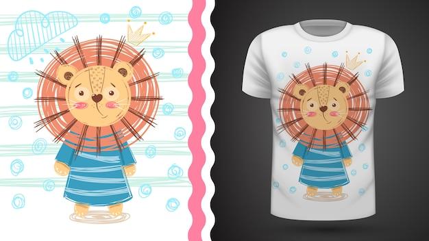 Leone carino - idea per t-shirt stampata Vettore Premium
