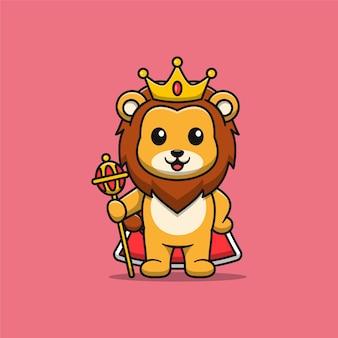 Illustrazione di cartone animato carino re leone Vettore Premium