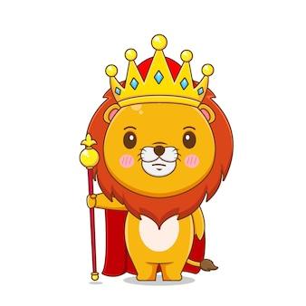 Simpatico personaggio re leone isolato.