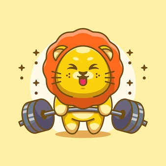 Simpatico cartone animato di sollevamento pesi re leone
