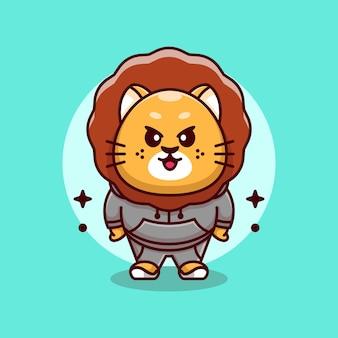 Design carino mascotte re leone